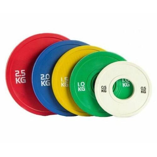 Paire de disques musculation olympiques bumpers fractionnés (500g à 2,5kg)